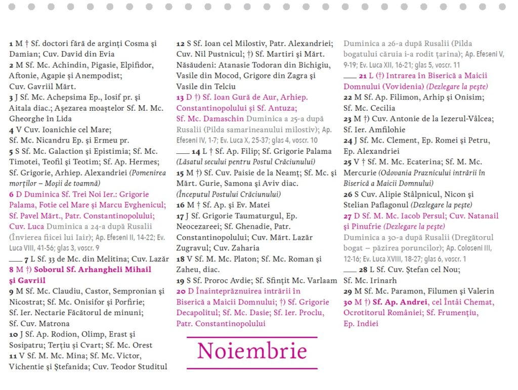 calendar 2016 birou noiembrie 2016