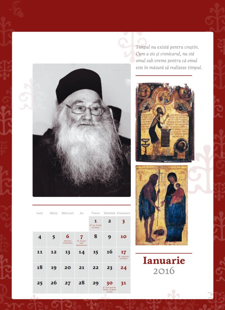 Calendar de perete 2016 parintele Justin Parvu