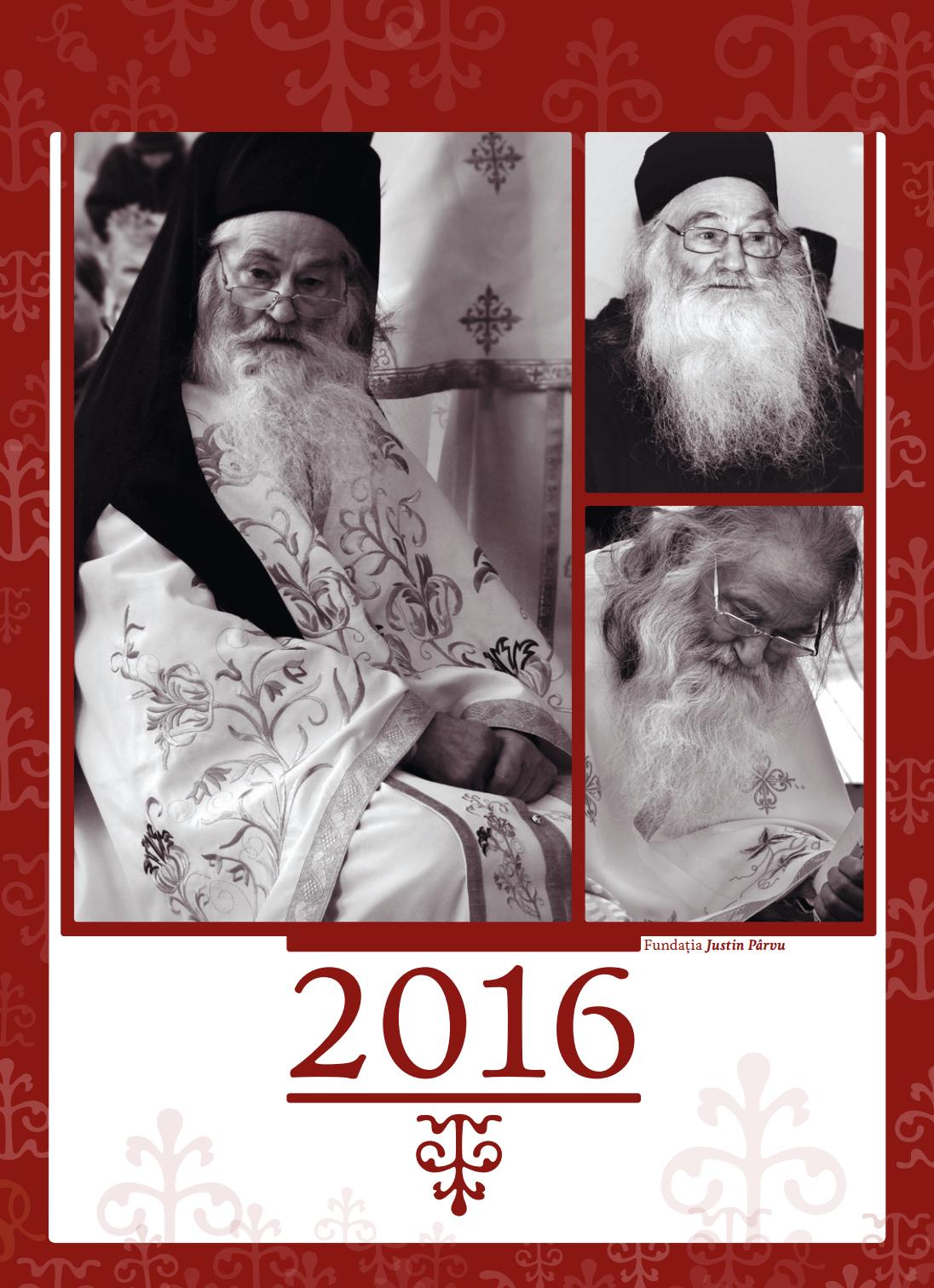 Coperta Calendar 2016 Pr. Justin Parvu