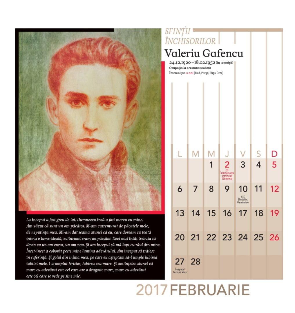 Calendar perete Sfintii Inchisorilor Valeriu Gafencu