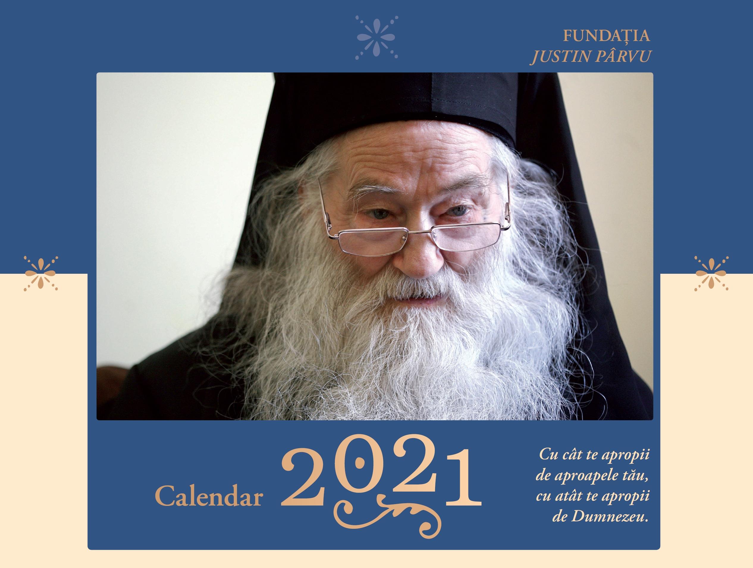 Calendar Ortodox 2021 cu Părintele Justin Pârvu coperta