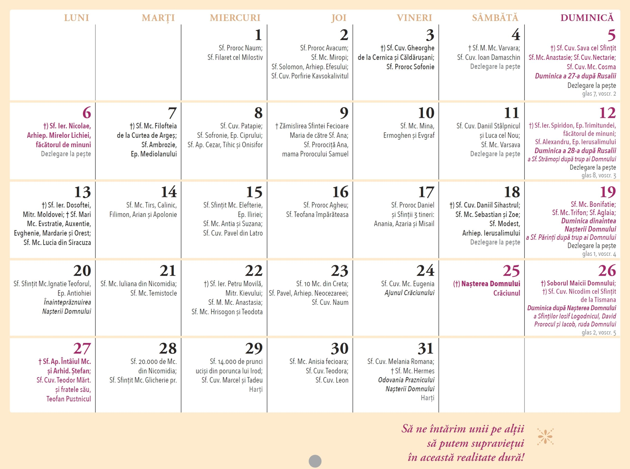 Calendar ortodox 2021 Părintele Justin Pârvu luna Decembrie